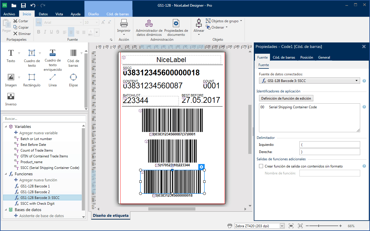 Software de diseño de etiquetas de código de barras
